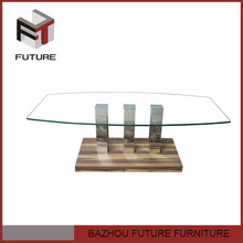 Rectangle stainless steel and glass design touch screen coffee table