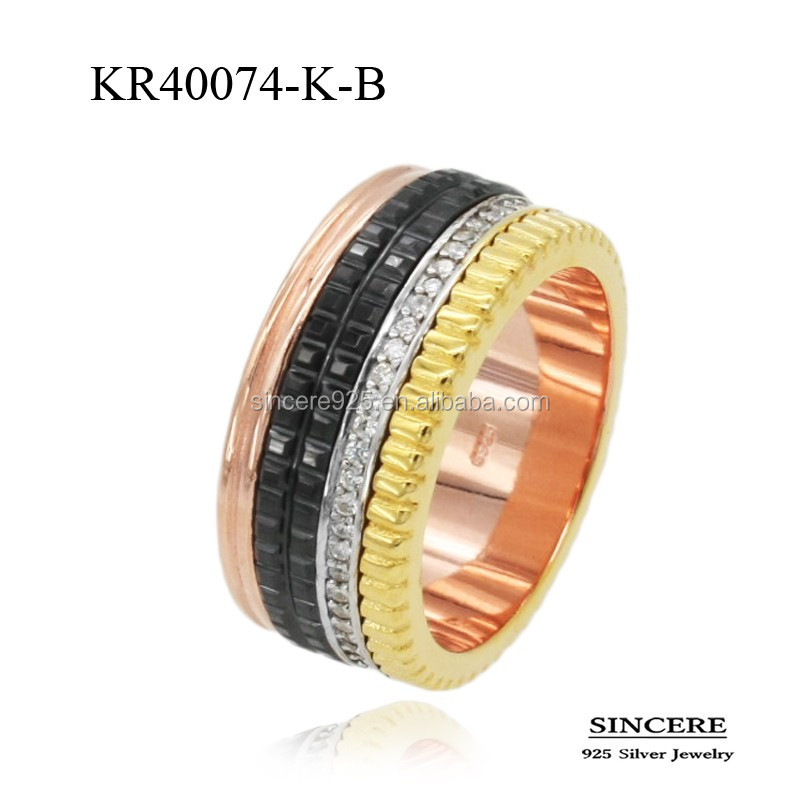 Stylish unisex Rhodium and Gold Plated 925 sterling silver ceramic round stone rings for men and women