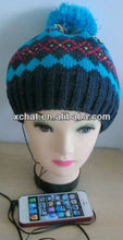 Pom pom beanie hat headphone