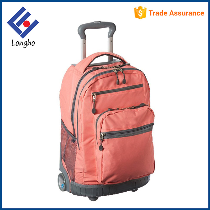 Professional factory supply fashion backpack travel wheels, double locking handle teens trolley school bags luggage