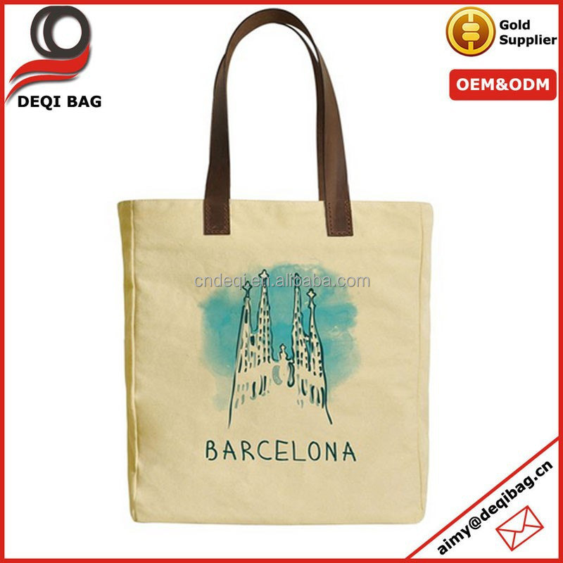 Barcelona Graphic Canvas Tote Bag with Leather Handles