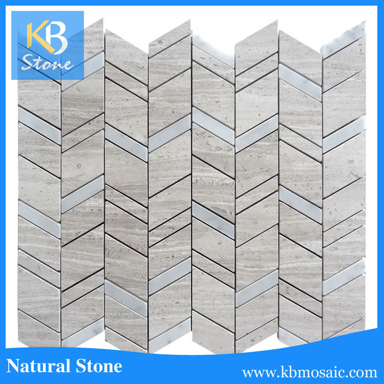 KB stone wall design Interlocking wooden beige marble mosaic tile, tiles mosaic