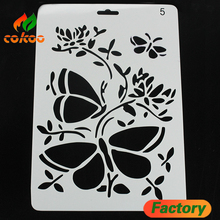 Popular stylish flower white drawing stencil set for chilren painting toy