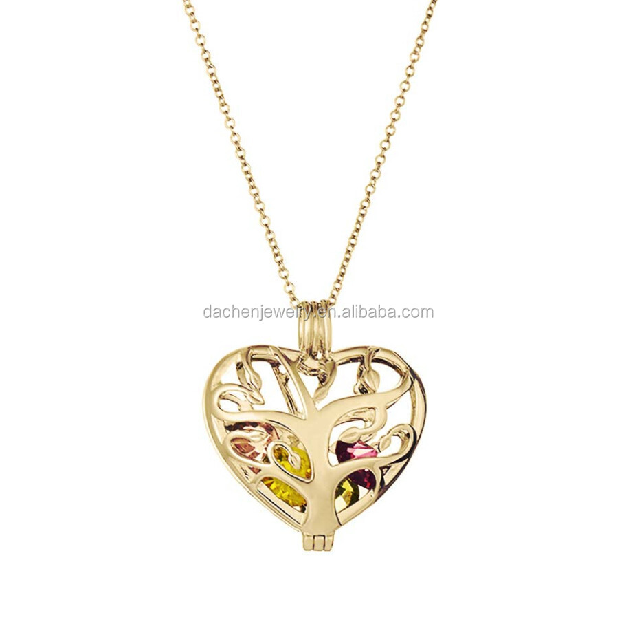 925 Sterling Silver Jewelry Wholesale Family Tree Heart Cage Pendant For Birthstone or Pearls