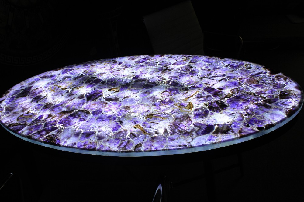 Best selling customized purple Amethyst with LED backlit gemstone countertop tabletops China wholesale