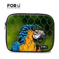 Funky Parrot Polyester Custom 15.6 Inch Laptop Sleeve With Pocket Outside