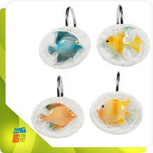 Fish shape polyresin shower curtain hooks