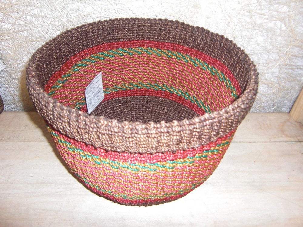 ABACA MULTI COLORED ROUND WOVEN WASTE BASKET BIN WITH FOLDED RIM CODE: #TA 00045