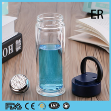 A glass double deck portable water cup creative belt cover filter office cup for men and women for heat - proof car cups