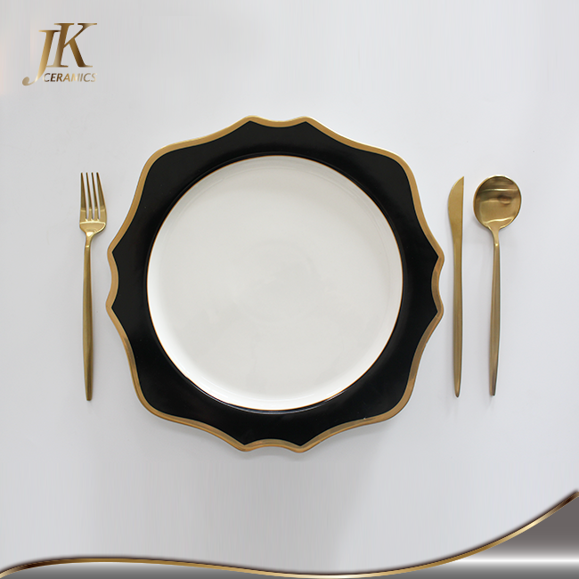 High grade 13 inch luxury ceramic charger plates customized dinner plate