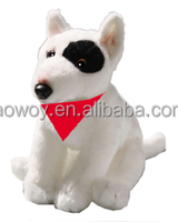 imprinted bull terrier sitting red scarf embroidery promotional plush stuffed soft custom logo bull terrier sitting red scarf581