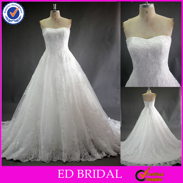 LN45 High Quality French Lace A Line Scoop China Guangzhou Wedding Dress