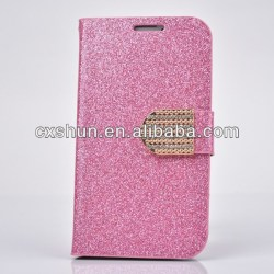 Luxury Wallet Flip Magnetic Bling Rhienstones Diamonds Leather Glitter Case for Samsung Galaxy S4 (Light Pink)
