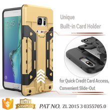 Armor bear kickstand card slot mobile phone case for samsung galaxy note 6