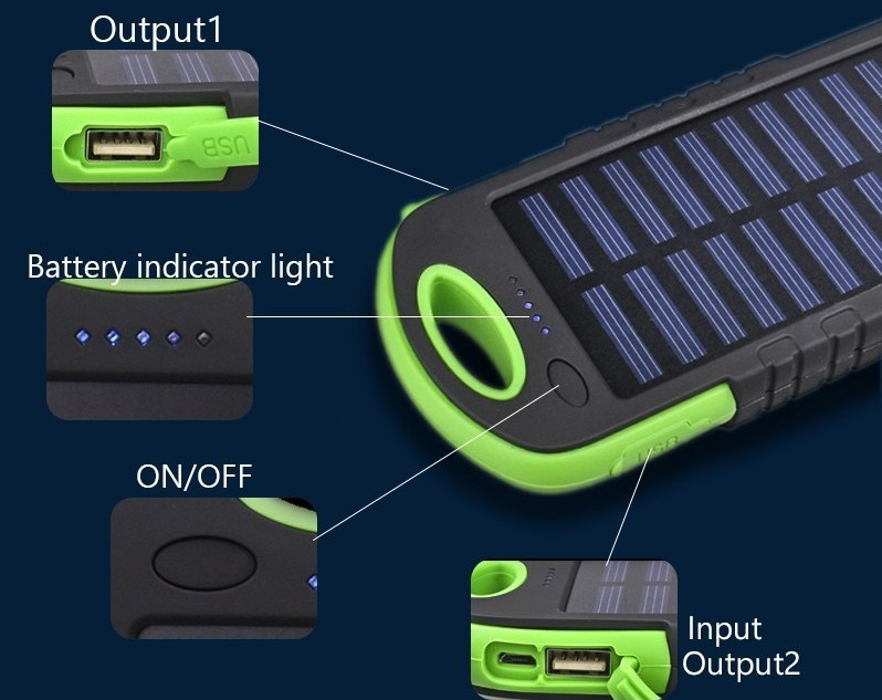 5000mah window solar power bank and solar charger