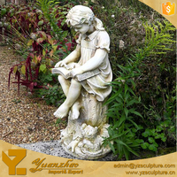 Outdoor Decoration Stone Marble Child Statue of Little Reading Girl