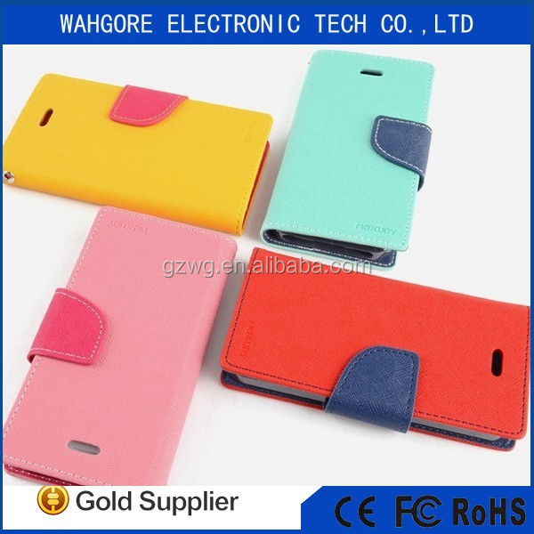 Mercury mobile phone leather case flip cover wallet case for samsung flip case many color