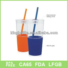 27oz double wall straw mug with Ribbed Grip