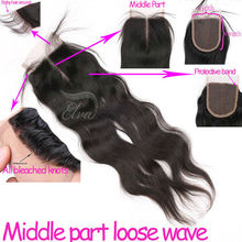Middle parting loose wave light yaki lace closure