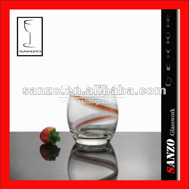 Double whip silk white and date red whisky glass tumbler