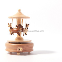 Wooden carousel sankyo vintage rotating wooden music box movements