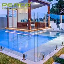 Frameless glass balustrades spigots stainless steel swimming outdoor glass fence