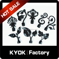 KYOK delicate 22mm curtain finial, aluminum curtain rod pole end, wrought iron curtain rod finials leaf end caps