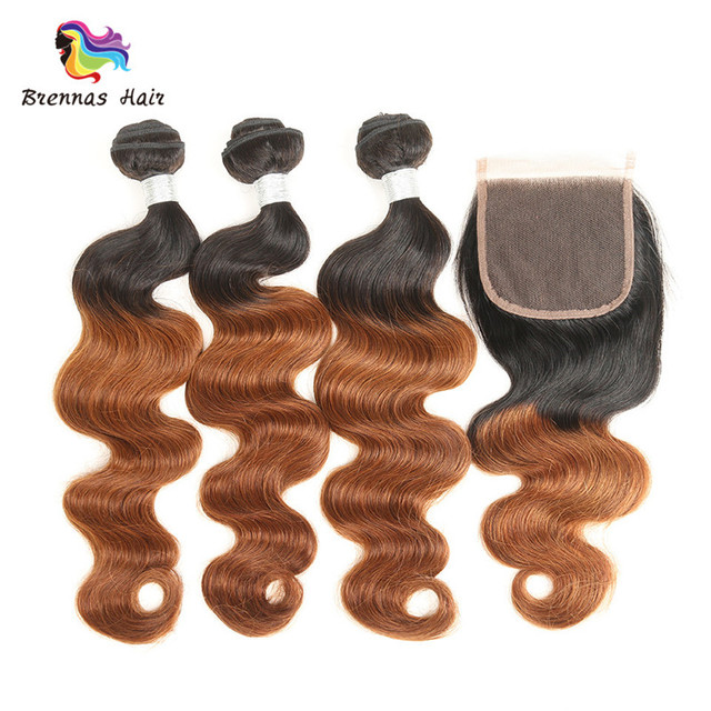 1B/30 Human Hair Body Wave Weave 3Bundles with 4x4 Swiss Lace Closure Ombre Brown
