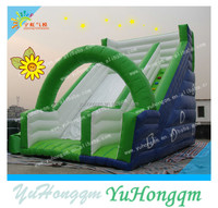 2015 china new designed green super gaint inflatable slide with arch for sale