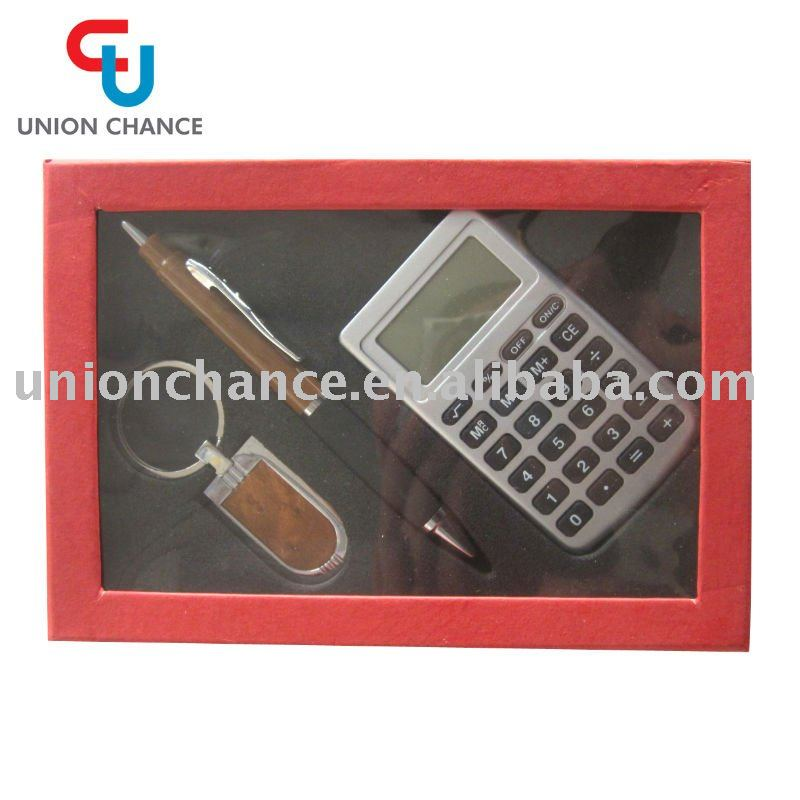 Metal Ballpen Set,Keychain with Calculator Gift Set