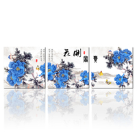 3 Panel Blooming Peony Characters Quote Chinese Painting Canvas Prints Mural Art for Home Living Wall Decor