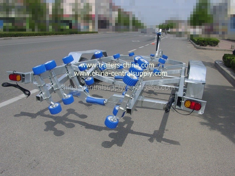 Heavy duty 6.5m tri-axle flat /bed boat trailer of factory made -2500kgs