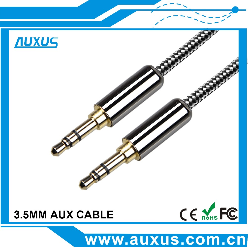 Silver Metal Male To Male Braided Stereo Audio