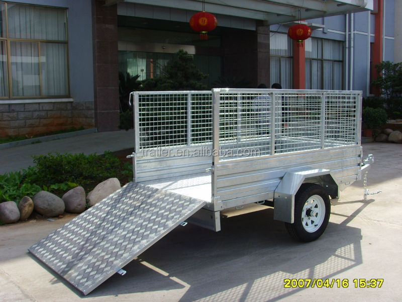 High Quality 7x4ft hot Dipped Galvanized Caged Ramp Box Trailer
