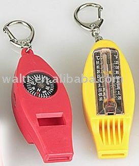 Thermometer With whistle With Compass Key chains
