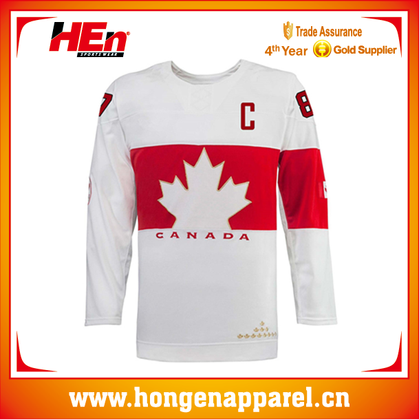 Hongen apparel canada maple leaf white team sets ice hockey jersey/wear/clothing