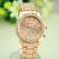 Essential Faux Chronograph Quartz Plated Classic Round Ladies Women Crystal Watch
