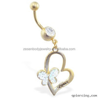 Wholesale Charming Crystal Butterfly Shape Gold Titanium Chain Dangle Belly Ring Navel Piercing Body Jewelry