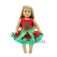 "18"" American Girl Doll Christmas Tree Red Tank Top with Red Green Pettiskirt"