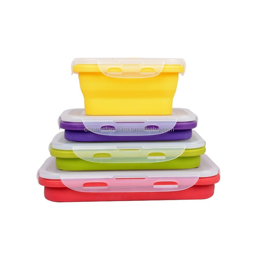 4 Sizes Microwave and Dishwasher Safe silicone collapsible lunch box with plastic lid foldable silicone food container