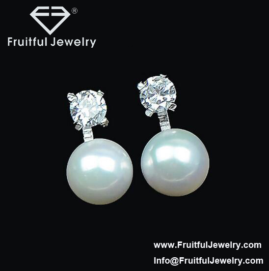 2016 Luxury bright luster stud earring with pearl and shining crystal Fashion Costume Jewelry Online Wholesale