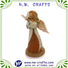 Wholesale resin religious sculpture small wooden angel carving