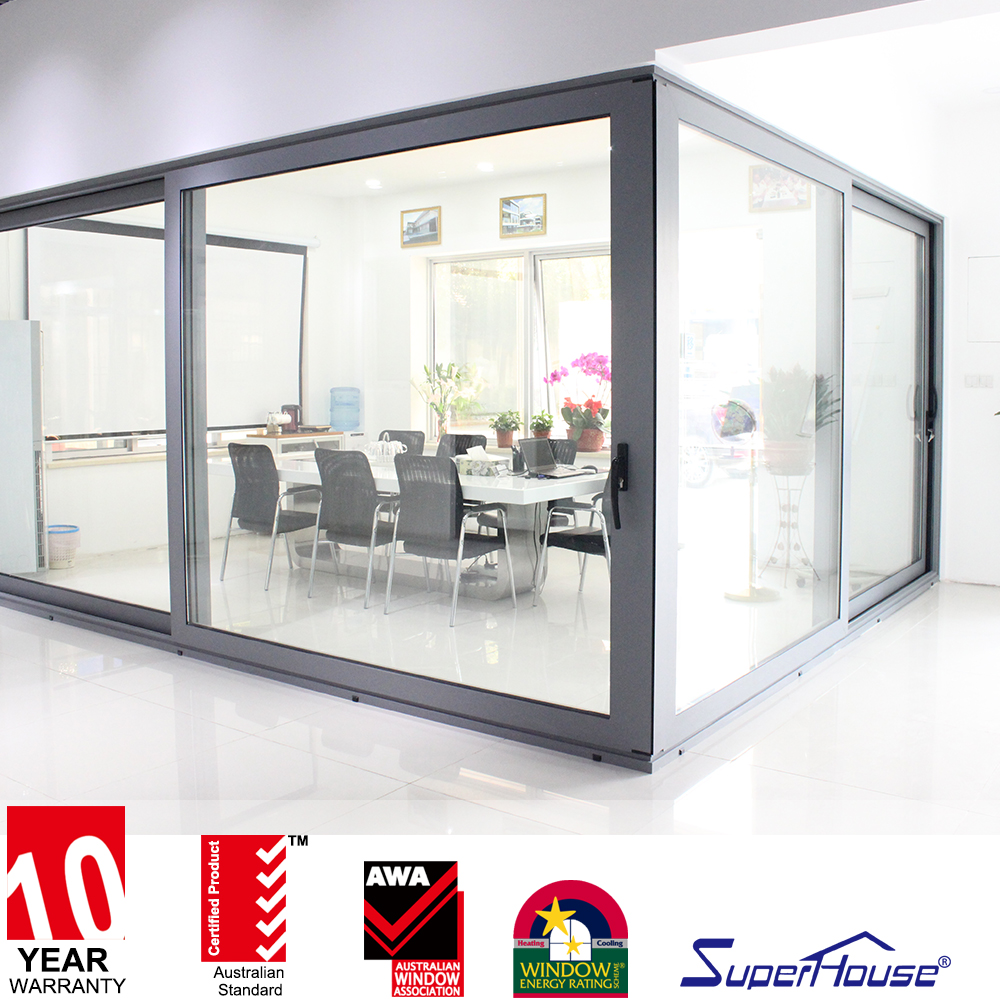 Superhouse Large panel AS2047&CSA australia tempered glass bathroom sliding windows and door