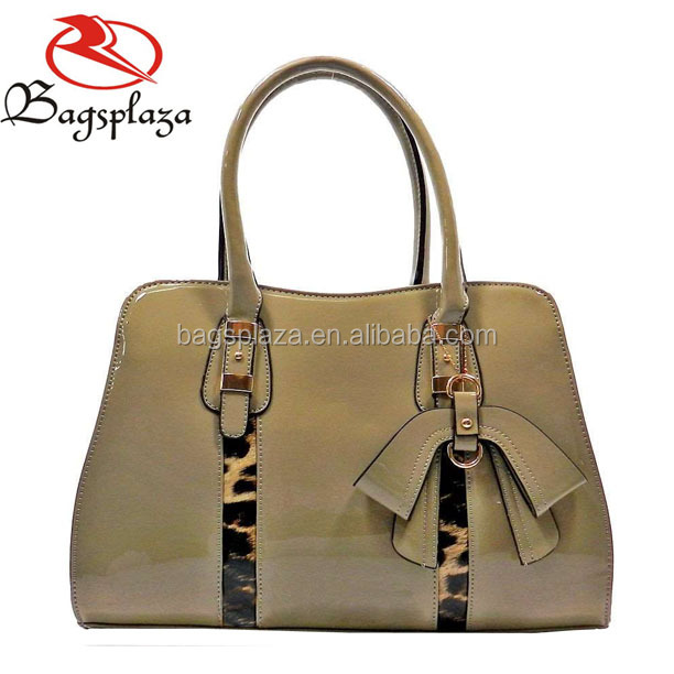 Elegant ladies patent pu leather tote bag high quality hard handbag china supplier