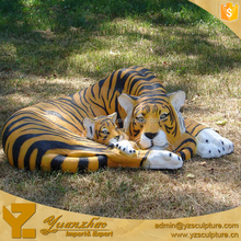 outdoor life size resin character animal tiger statue for zoo decoration