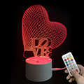 Valentine's Day gift 3d creative love heart shape chargeable night light 3D lamp