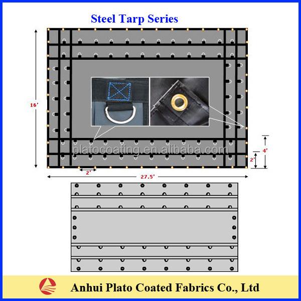 18oz Black Vinyl Coated Steel Tarpaulin 16 X 24 Double