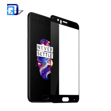 Hot sale silk printing full coverage screen protector tempered glass for Oneplus 5
