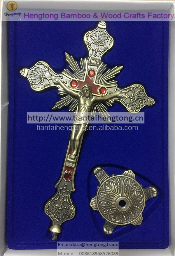 25 cm antique bronze finish Enamel alloy cross, Religious Standing Crucifix, metal alloy decoration cross