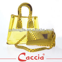 hot sale snake pattern handbag and cosmetic bag set from guangzhou factory